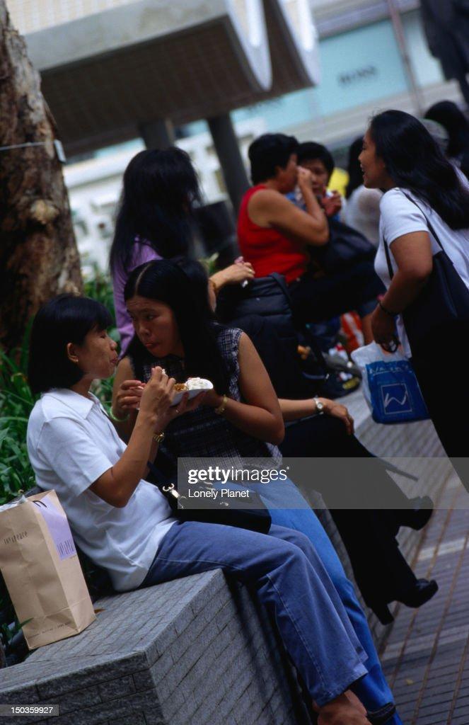 Filipino Maids Gather At Statue Square Hong Kong Stock ...