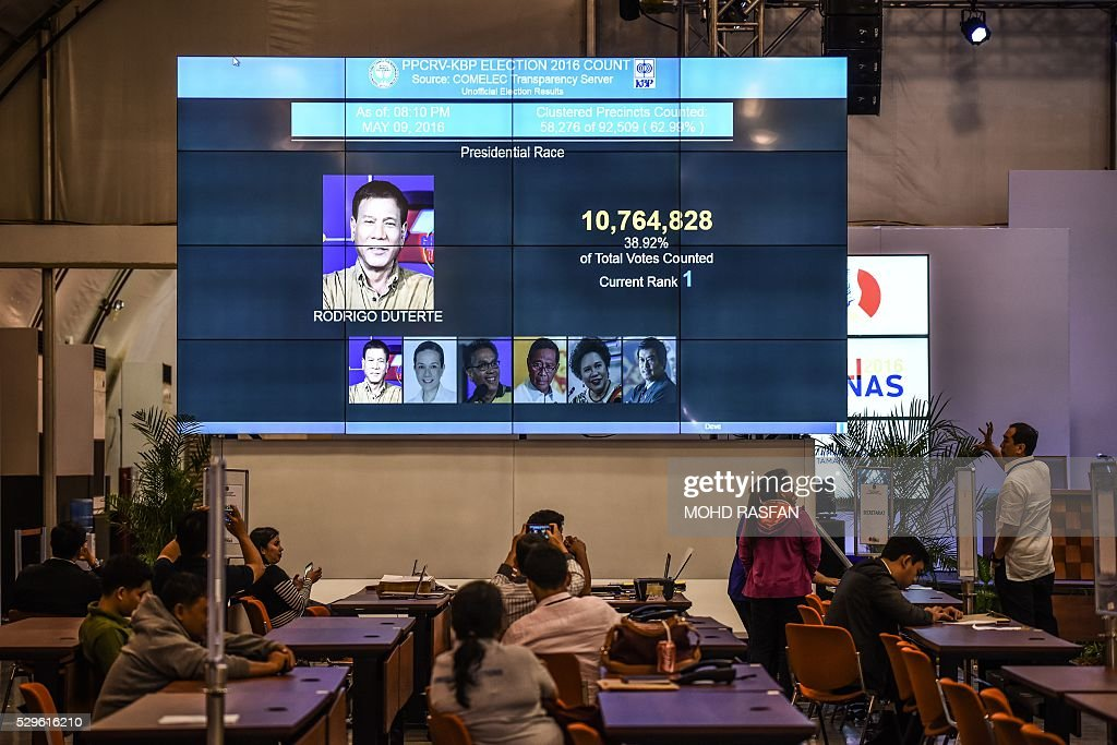 Filipinos look at a giant screen showing unofficial results of presidential candidate and Davao Mayor Rodrigo Duterte in Manila on May 9, 2016. Anti-establishment firebrand Rodrigo Duterte has taken an early lead in the Philippine presidential elections, according to unofficial tallies carried by national media shortly after polls closed. / AFP / MOHD
