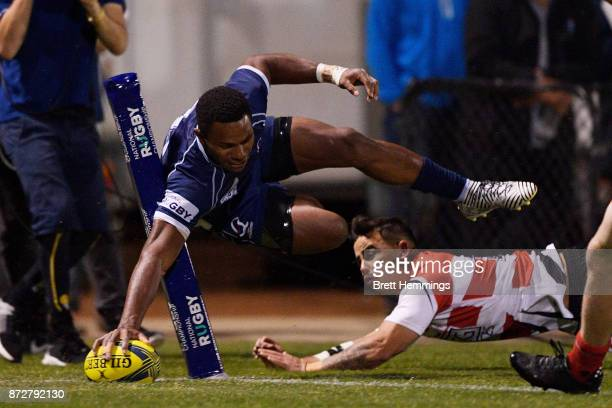 Filipo Daugunu of Queensland scores a try during the NRC Grand Final match between Canberra and Queensland Country at Viking Park on November 11 2017...