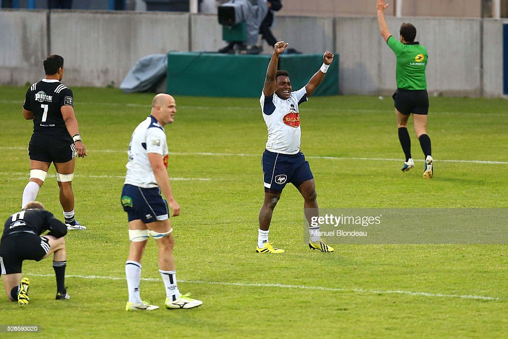 Filipo Nakosi of Agen celebrates during the French Top 14 rugby union match between SU Agen v CA Brive at Stade Armandie on April 30, 2016 in Agen, France.