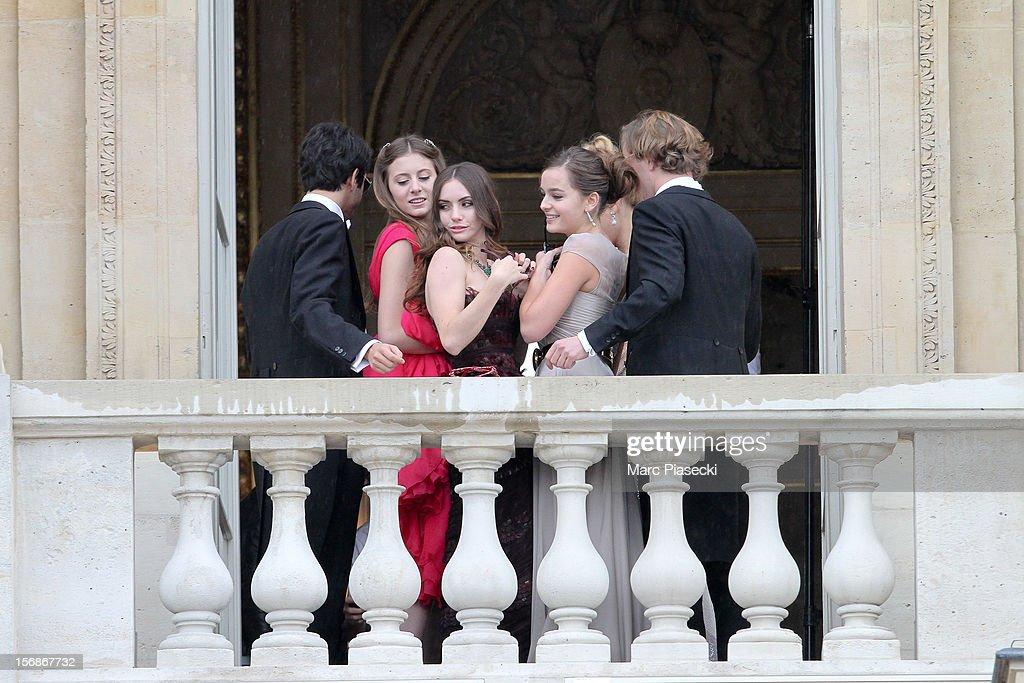 Filippa Brandolini d'Adda, Zoe-Bleu Sidel and Justine Vilgrain are seen at Hotel Crillon on November 23, 2012 in Paris, France.