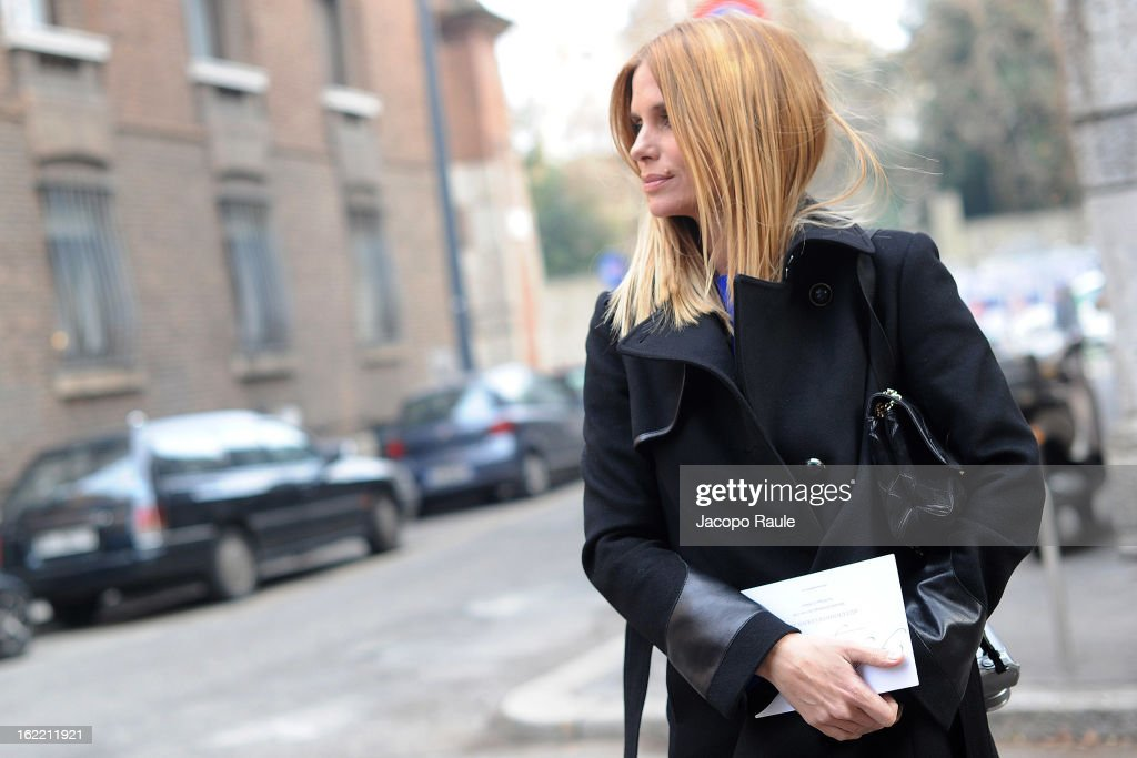 Filippa Lagerback arrives at the Alberta Ferretti show during Milan Fashion Week Womenswear Fall/Winter 2013/14 on February 20, 2013 in Milan, Italy.