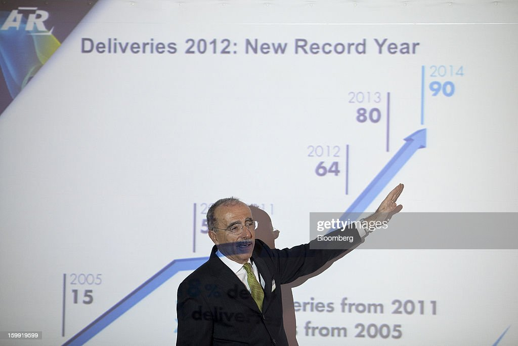 Filippo Bagnato, chief executive officer of Avions de Transport Regional (ATR), gestures during a news conference to announce the company's results in Colomiers, France, on Wednesday, Jan. 23, 2013. ATR, the world's largest maker of turbo-propeller airliners, reported record profit for 2012, even as it fell short of its shipment target amid production delays. Photographer: Balint Porneczi/Bloomberg via Getty Images