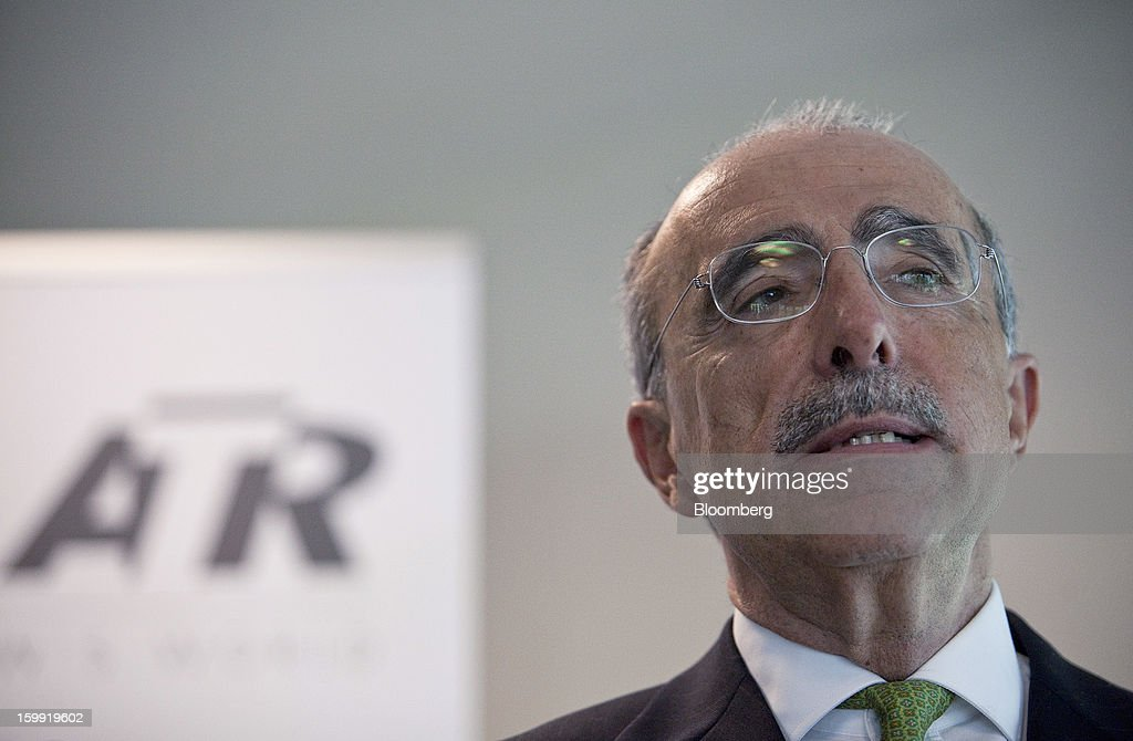 Filippo Bagnato, chief executive officer of Avions de Transport Regional (ATR), speaks during a news conference to announce the company's results in Colomiers, France, on Wednesday, Jan. 23, 2013. ATR, the world's largest maker of turbo-propeller airliners, reported record profit for 2012, even as it fell short of its shipment target amid production delays. Photographer: Balint Porneczi/Bloomberg via Getty Images