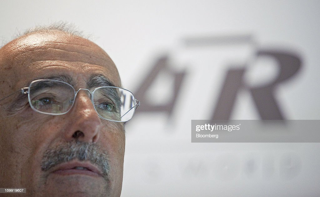 Filippo Bagnato, chief executive officer of Avions de Transport Regional (ATR), pauses during a news conference to announce the company's results in Colomiers, France, on Wednesday, Jan. 23, 2013. ATR, the world's largest maker of turbo-propeller airliners, reported record profit for 2012, even as it fell short of its shipment target amid production delays. Photographer: Balint Porneczi/Bloomberg via Getty Images