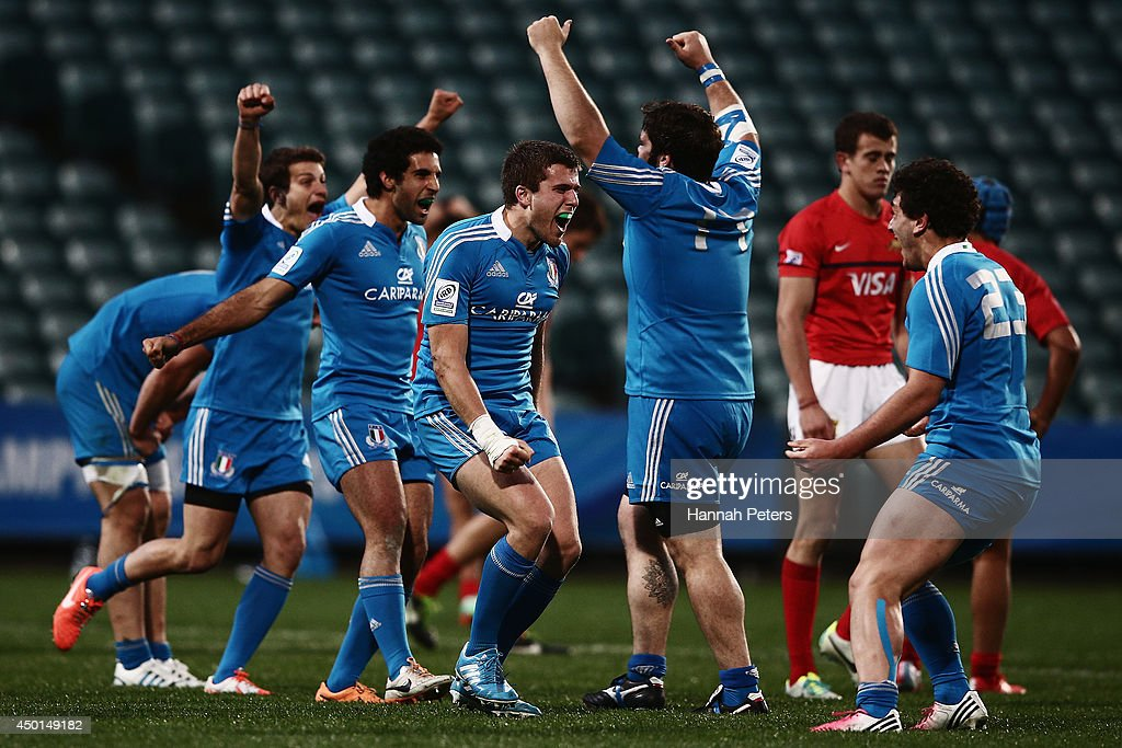 Filippo Buscema of Italy celebrates with his team after winning the 2014 Junior World Championship match between Argentina and Italy at QBE Stadium on June 6, 2014 in Auckland, New Zealand.