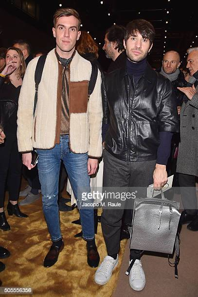 Filippo Cirulli and Filippo Fiora attend the Fendi show during Milan Men's Fashion Week Fall/Winter 2016/17 on January 18 2016 in Milan Italy