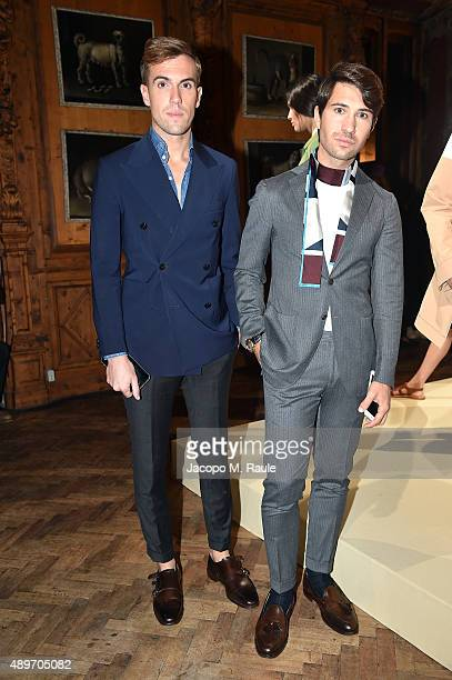 Filippo Cirulli and Filippo Fiora attend the Peuterey presentation as part of Milan Fashion Week Spring/Summer 2016 on September 23 2015 in Milan...