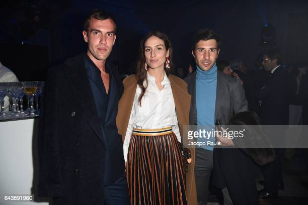 Filippo Cirulli Erika Boldrin and Filippo Fiora attend Valentino Mirage cocktail during Milan Fashion Week FW17 on February 22 2017 in Milan Italy