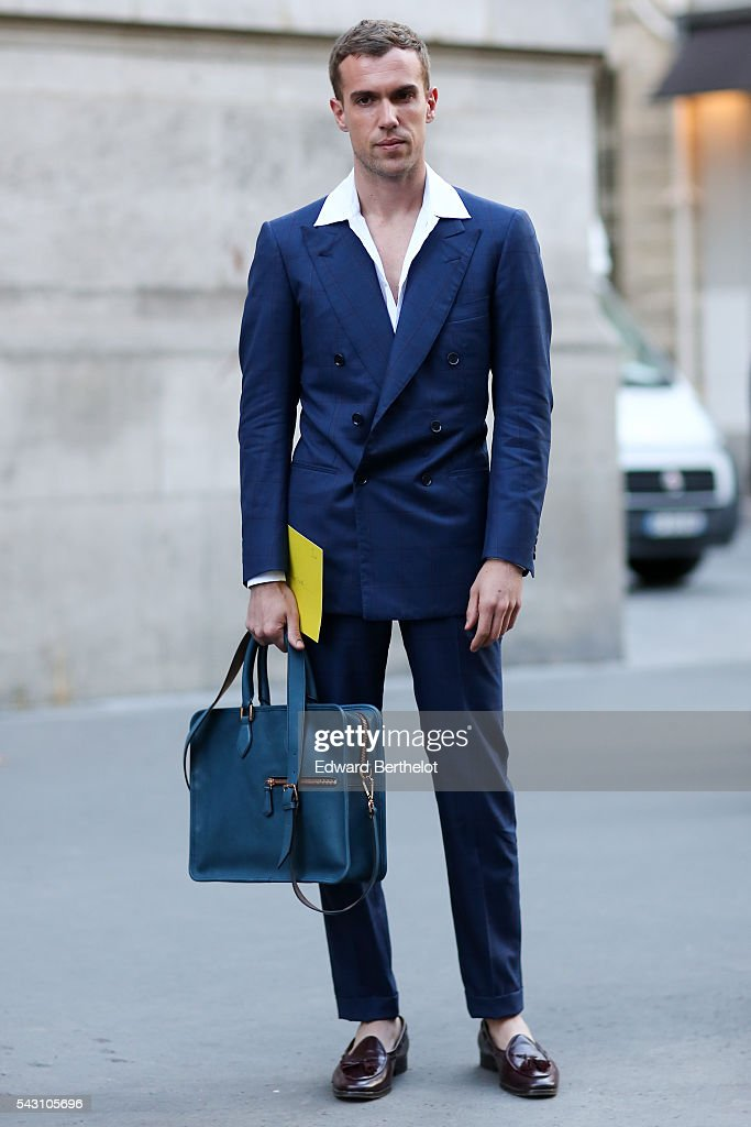 Filippo Cirulli is seen, before the Hermes show, during Paris Fashion Week Menswear Spring/summer 2017, on June 25, 2016 in Paris, France.