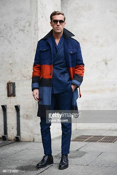 Filippo Cirulli poses wearing a Ferragamo total look during day 2 of Milan Menswear Fashion Week Fall/Winter 2015/2016 on January 18 2015 in Milan...