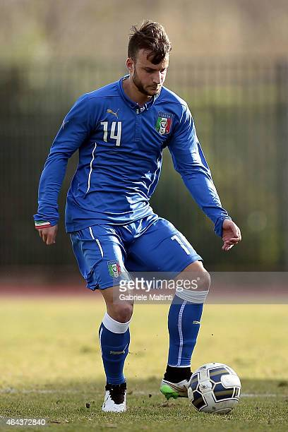 Filippo Costa of Italy U20 in action during the international friendly match between Italy U20 and Qatar U20 on February 25 2015 in Montelupo...