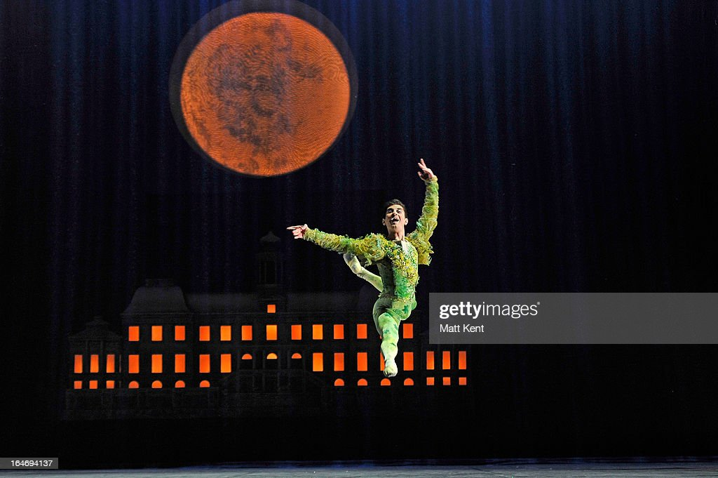 Filippo Di Vilio as Spring performs during the dress rehearsal for the English National Ballet's 'My First Cinderella' at The Peacock Theatre on March 26, 2013 in London, England.