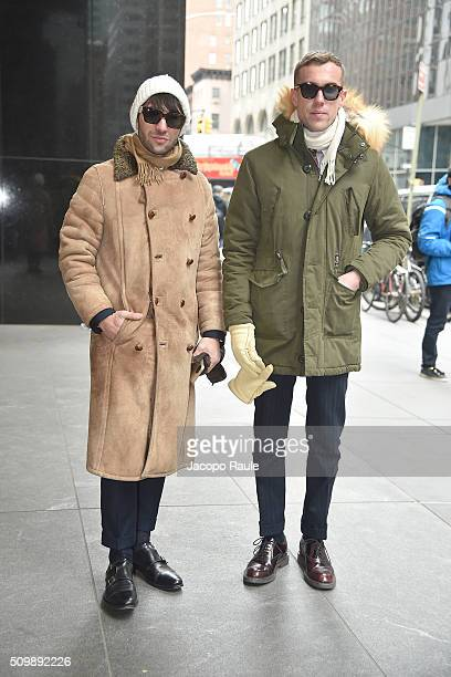 Filippo Fiora and Filippo Cirulli are seen arriving at Polo Ralph Lauren presentation during Fall 2016 New York Fashion Week on February 12 2016 in...