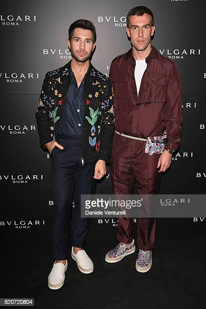 Filippo Fiora and Filippo Cirulli attend BVLGARI Celebration of BZero1 At Milan Design Week at Hotel Bulgari on April 12 2016 in Milan Italy