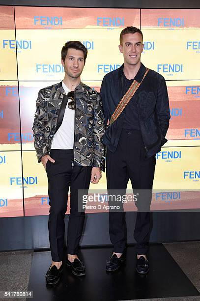 Filippo Fiora and Filippo Cirulli attend the Fendi show during Milan Men's Fashion Week SS17 on June 20 2016 in Milan Italy