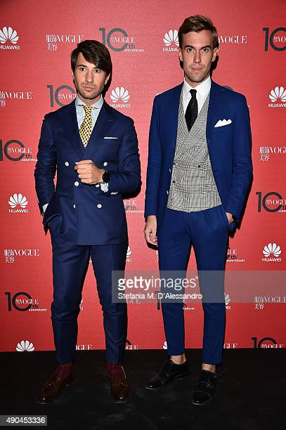 Filippo Fiora and Filippo Cirulli attend Vogue China 10th Anniversary at Palazzo Reale on September 28 2015 in Milan Italy
