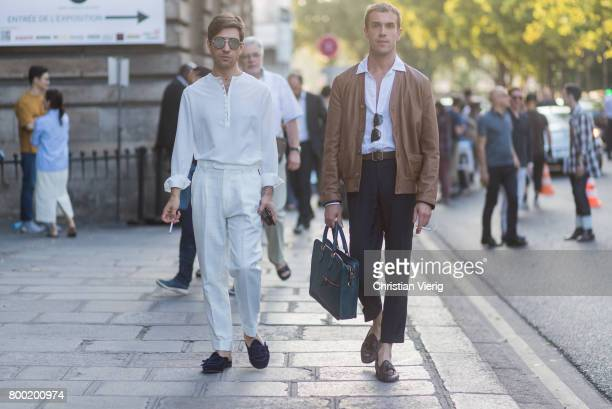 Filippo Fiora and Filippo Cirulli outside Berluti during Paris Fashion Week Menswear Spring/Summer 2018 on June 23 2017 in Paris France