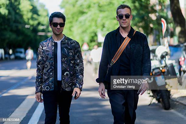 Filippo Fiora and Filippo Cirulli outside Fendi during the Milan Men's Fashion Week Spring/Summer 2017 on June 20 2016 in Milan Italy