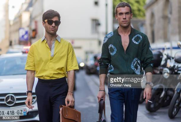 Filippo Fiora and Filippo Cirulli outside Hermes during Paris Fashion Week Menswear Spring/Summer 2018 Day Four on June 24 2017 in Paris France