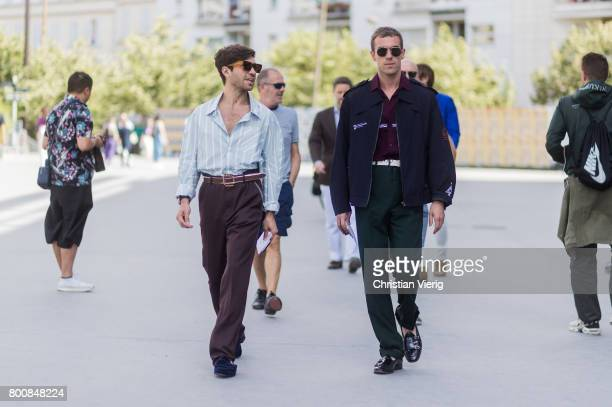 Filippo Fiora and Filippo Cirulli outside Lanvin during Paris Fashion Week Menswear Spring/Summer 2018 Day Five on June 25 2017 in Paris France