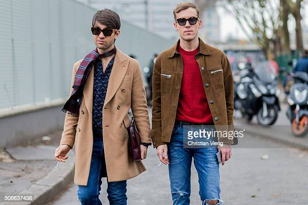 Filippo Fiora and Filippo Cirulli outside Lanvin during the Paris Fashion Week Menswear Fall/Winter 2016/2017 on January 24 2016 in Paris France