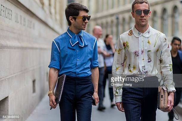 Filippo Fiora and Filippo Cirulli outside Maison Margiela during the Paris Fashion Week Menswear Spring/Summer 2017 on June 24 2016 in Paris France