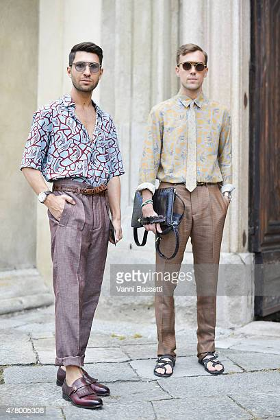 Filippo Fiora and Filippo Cirulli pose before N21 show on June 21 2015 in Milan Italy