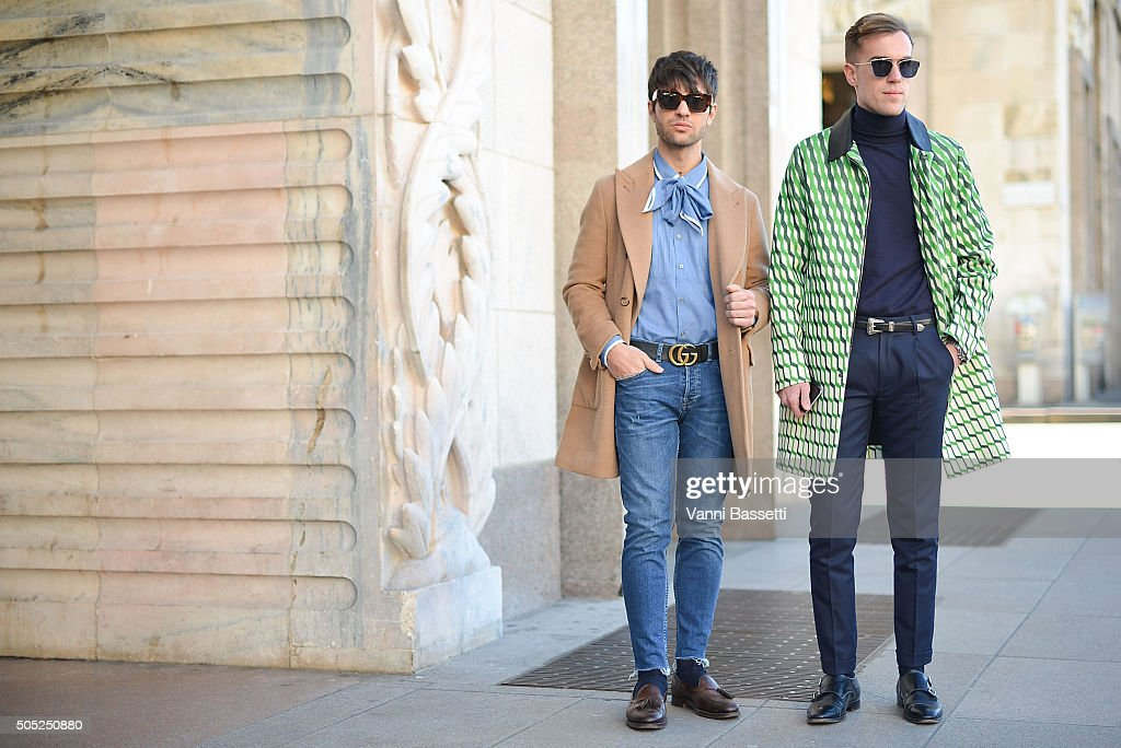 Filippo Fiora and Filippo Cirulli pose before the Costume National show at Piazza del Duomo during the Milan Men's Fashion Week Fall/Winter 2016/17 on January 16, 2016 in Milan, Italy.