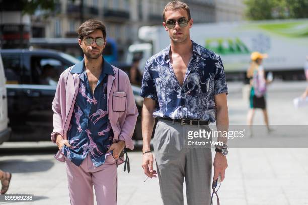 Filippo Fiora and Filippo Cirulli wearing button shirts outside Louis Vuitton during Paris Fashion Week Menswear Spring/Summer 2018 on June 22 2017...