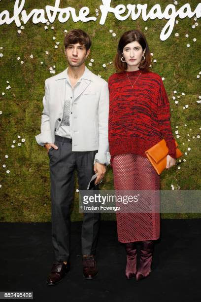 Filippo Fiora and Valentina Siragusa attends the Salvatore Ferragamo show during Milan Fashion Week Spring/Summer 2018 on September 23 2017 in Milan...