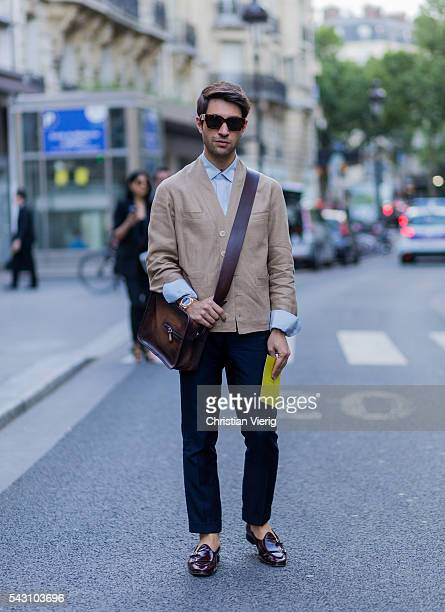Filippo Fiora outside Hermes during the Paris Fashion Week Menswear Spring/Summer 2017 on June 25 2016 in Paris France