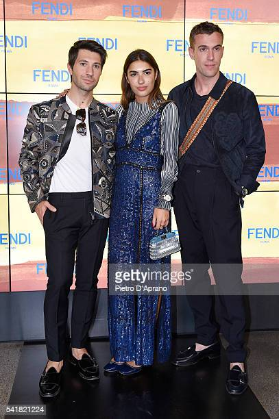 Filippo Fiora Patricia Manfield and Filippo Cirulli attends the Fendi show during Milan Men's Fashion Week SS17 on June 20 2016 in Milan Italy