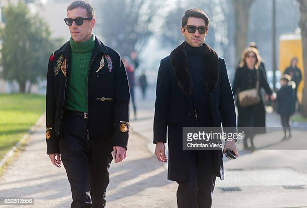 Filippo Fiora wearing a navy turtleneck and wool coat and Filippo Cirulli wearing a green turtleneck knit navy jacket outside Dior Homme on January...