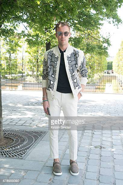 Filippo Fiora wears Louis Vuitton Saint Laurent shirt and Dior sunglasses on day 2 of Paris Collections Men on June 25 2015 in Paris France