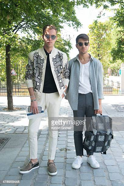 Filippo Fiora wears Louis Vuitton Saint Laurent shirt and Dior sunglasses with Filippo Cirulli wears Louis Vuitton and Hugo Boss sunglasses on day 2...
