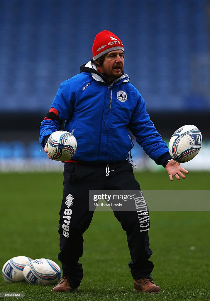 Filippo Frati, Coach of I Cavalieri Prato in action ahead of the Amlin Challenge Cup match between London Welsh and I Cavalieri Prato at Kassam Stadium on January 12, 2013 in Oxford, England.