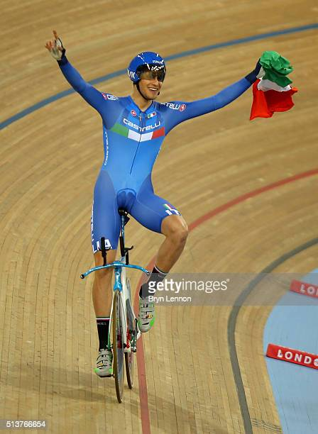 Filippo Ganna of Italy celebrates after winning The Men's Individual Persuit Final during Day Three of the UCI Track Cycling World Championships at...