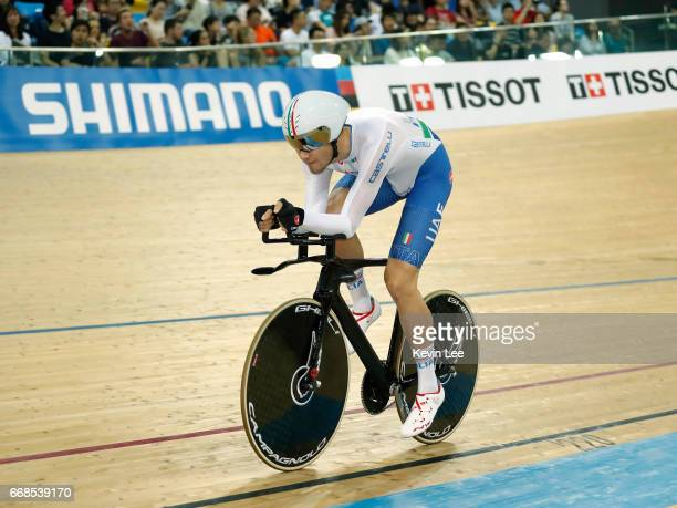 Filippo Ganna of Italy competes for the Gold medal at the Men's Individual Pursuit Final on Day 3 in 2017 UCI Track Cycling World Championships at...