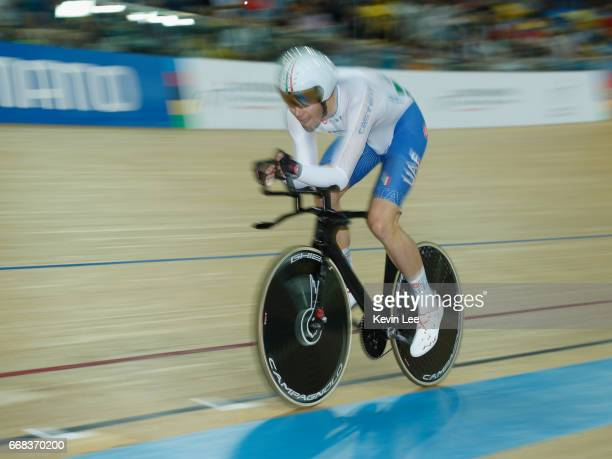 Filippo Ganna of Italy competes in Men's Individual Pursuit Qualifying on Day 3 in 2017 UCI Track Cycling World Championships at Hong Kong Velodrome...