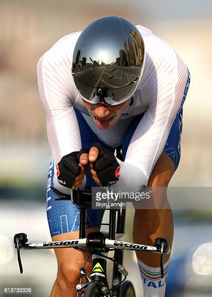 Filippo Ganna of Italy competes in the Men's U23 Individual Time Trial during day two of the UCI Road World Championships on October 10 2016 in Doha...