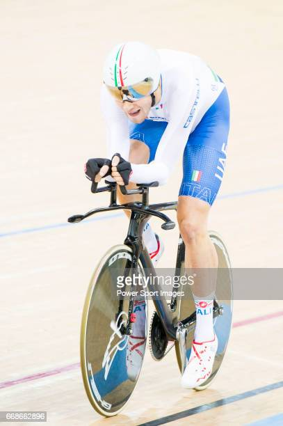 Filippo Ganna of the Italy team competes in the Men's Individual Pursuit Qualifying during 2017 UCI World Cycling on April 14 2017 in Hong Kong Hong...