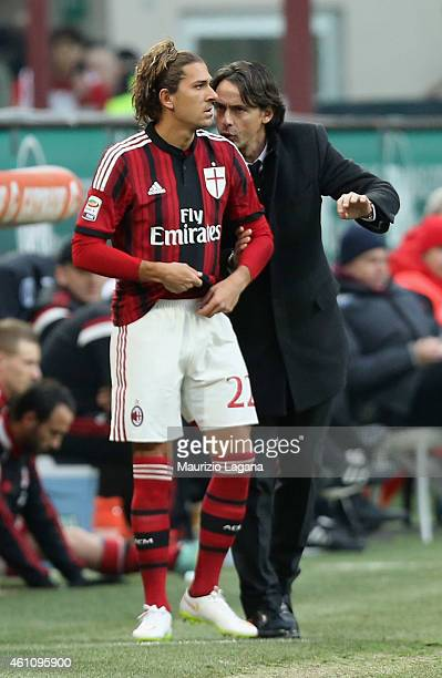 Filippo Inzaghi and Alessio Cerci of Milan during the Serie A match between AC Milan and US Sassuolo Calcio at Stadio Giuseppe Meazza on January 6...