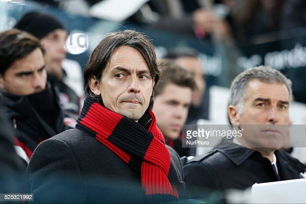 Filippo Inzaghi and Mauro Tassotti before the Serie A match between Juventus FC and AC Milan at Juventus Stafium on february 07 2015 in Torino Italy