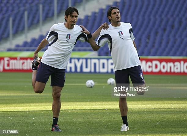 Filippo Inzaghi and Simone Perrotta warm up before the Italy training session at the FIFA World Cup Stadium Hanover on June 11 2006 in Hanover...
