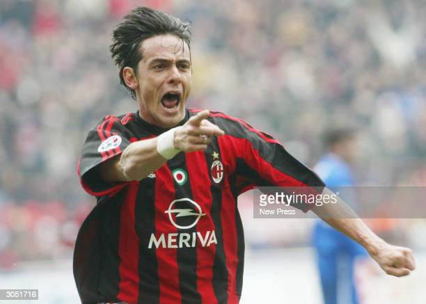 Filippo Inzaghi celebrates after scoring a goal during the Serie A match between AC Milan and Sampdoria on March 7 in Milan Italy