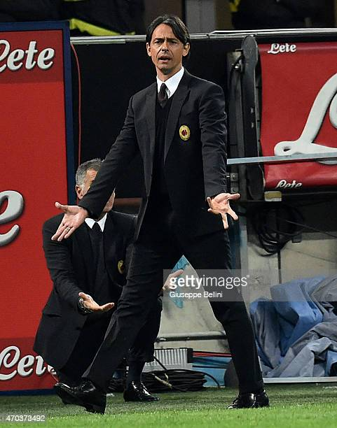 Filippo Inzaghi head coach of Milan during the Serie A match between FC Internazionale Milano and AC Milan at Stadio Giuseppe Meazza on April 19 2015...