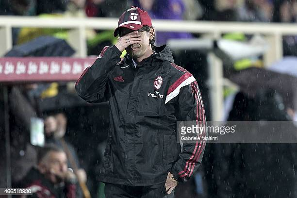 Filippo Inzaghi manager of AC Milan gestures during the Serie A match between ACF Fiorentina and AC Milan at Stadio Artemio Franchi on March 16 2015...