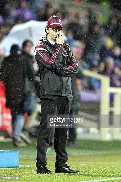 Filippo Inzaghi manager of AC Milan shows his dejection during the Serie A match between ACF Fiorentina and AC Milan at Stadio Artemio Franchi on...