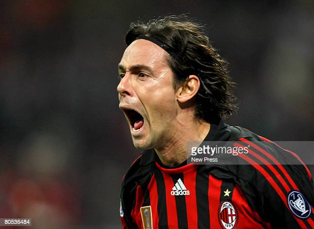Filippo Inzaghi of AC Milan celebrates a goal during the Serie A match between Milan and Cagliari at the Stadio San Siro on April 5 2008 in Milan...